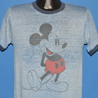 70s Mickey Mouse Blue Distressed Ringer t-shirt Medium