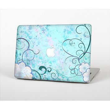 The Subtle Blue & Pink Grunge Floral Skin Set for the Apple MacBook Air 11""