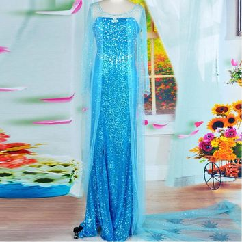 elsa costume adult princess elsa dress cosplay halloween costume for women snow queen cosplay Party Formal Dress