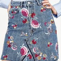 PREMIUM COLLECTION EMBROIDERED FLORAL DENIM SKIRT - NEW IN-WOMAN | ZARA United States
