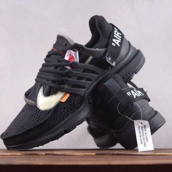 KUYOU N170 Nike AIR PRESTO x Off-White Net Surfuce Breathable Running Shoes Black