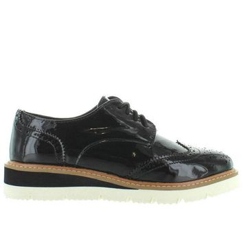 CREYONIG Wanted Downey - Black Patent Perforated Wing-Tip Platform/Wedge Oxford