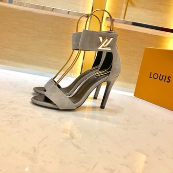 Louis Vuitton LV Gray Women Fashion Pointed Toe High Heels Shoes