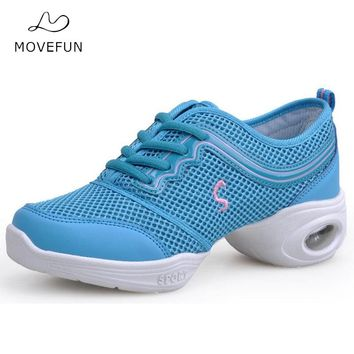 MoveFun Girls Women Breathable Dance Sneakers Pink Blue Modern Dance Fitness Teachers Jazz Shoes Zapatillas Deportivas Mujer-10