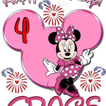 Personalized Disney Birthday Minnie Mouse Shirt T-shirt Very Cute!