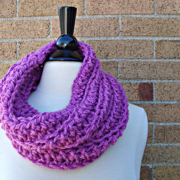 Cowl Neck Chunky Infinity Scarf  Lilac by KnotaGeek on Etsy