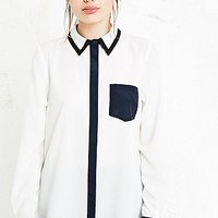 Cooperative Contrast Black Trim Shirt in Ivory - Urban Outfitters