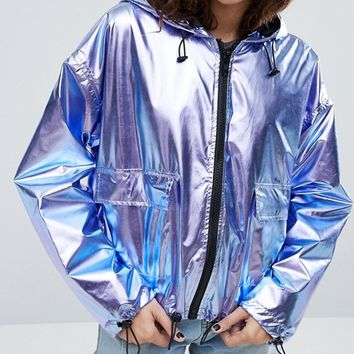 ASOS Cropped Metallic Anorak at asos.com