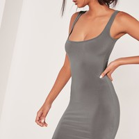 Missguided - Slinky Bodycon Mini Dress Grey