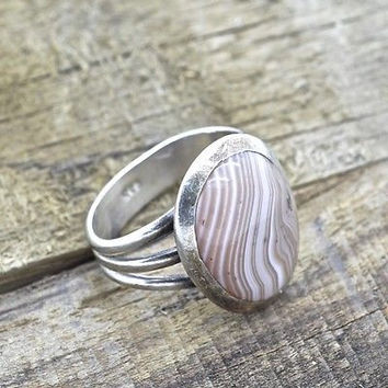 Vintage Sterling Silver Agate Ring 925 Southwestern Handmade Jewelry
