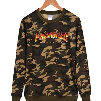 DCCKUNT Trendy Unisex Thrasher Long Sleeve Camouflage Hoodies Sweaters In Plus Size