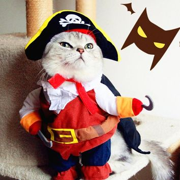 Funny Cat Clothes for Pet Pirate Costume Clothes For Small Cats Corsair Dressing up Halloween Cat Costume Chihuahua plus Hat 30