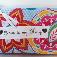 Pouch, zippered bag, padded Zippered pouch for  first aid, coins, phone, cosmetics,Jesus,  Inspirational, Christian, Religious