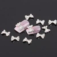 350buy 10x 3D Sliver Alloy Rhinestone Faux Bow Nail Art DIY Decorations Gift