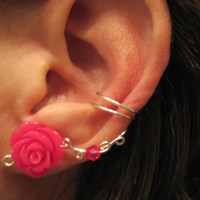 "Non Pierced Ear Cuff  ""Desert Rose"" Cartilage Conch Cuff Color Choices Some Rose COLORS are On Back Order"