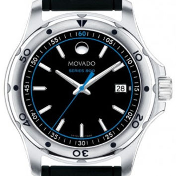 Movado Series 800 Black Dial Black Rubber Blue and White Accent Men's Watch 2600101