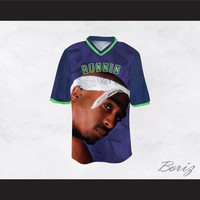 Tupac Shakur Makaveli 6 Runnin Blue/Green Football Jersey