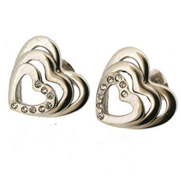 Ben and Jonah Stainless Steel Three Layered Heart Stud Earring with 8 Stones