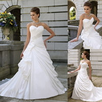 Stock New White Taffeta Bead Bridal Wedding/Party/Bride Dress SZ 6-8-10-12-14-16
