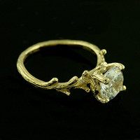 Forever Brilliant Moissanite 14k Yellow Gold Hand Crafted Tree Organic Style Solitaire Exceptional Unique Engagement Ring
