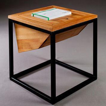 """solid panel wood coffee table with a metal frame """"diamant"""""""