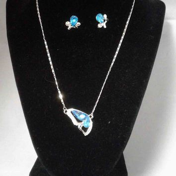 Blue Butterfly Pendant Set