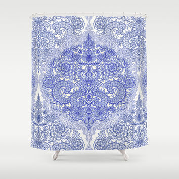Happy Place Doodle in Cornflower Blue, White & Grey Shower Curtain by micklyn | Society6