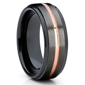 Black Tungsten Wedding Band - Gunmetal - Black Tungsten Ring  - 7mm