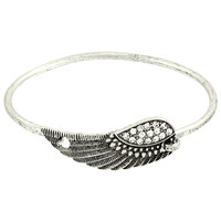 Inspirational Wing Fold Over Bracelet in Silver