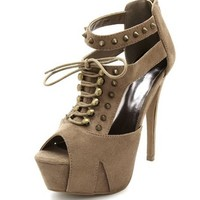 Spiked Lace-Up Cage Pump: Charlotte Russe