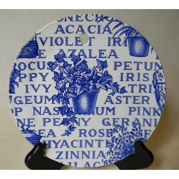 Blue and White China Garden Plaque English Ironstone Blue Transferware Plate - Plaque Victorian Garden Decor - Flower pot of ivy and flowers