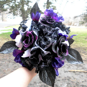 "Purple Wedding Bouquet, Bridal, Gothic inspired, Cotton, Satin, 8"" Lace, Black, Bridesmaid , Purple, Roses, Fabric Flower Bouquet, weddings"