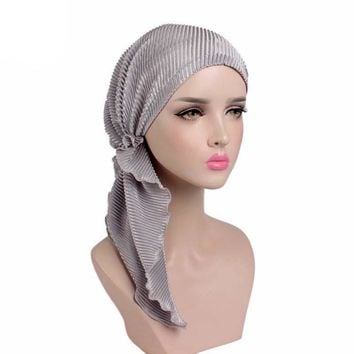 Muslims Women Ruffle Turban Hat Scarf Cotton Chemo Beanies Chemotherapy Bonnet Caps Bandana Headscarf Head Wrap Cancer Hair Loss