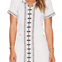 White Short Sleeve V Neck Dress