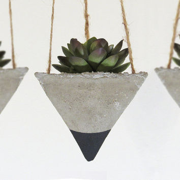 Succulent Planter, Concrete Planter, Hanging Planter, Geometric Planter, Modern Planter, Air Plant Holder, Black Planter - Set of 3