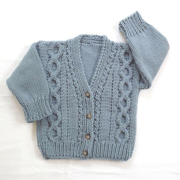 Childs knit cardigan - 12 to 24 months - Toddler cardigan - Kids knitted sweater - Boys blue jumper