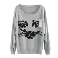 Celeb Street Style Round Neck Cat Face Knitting Pullover Sweater (Gray)