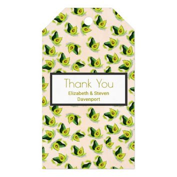 Green Avocados Watercolor Pattern Thank You Gift Tags