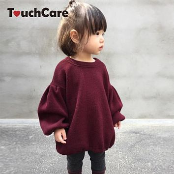 Baby Girls T-shirt Kids Cotton Lantern Sleeve Sweatshirt Outfit Girl Casual Outerwear Tops Children Blouse Tees Fashion Clothes
