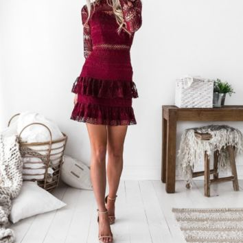 Maven Burgundy Ruffle & Lace Dress