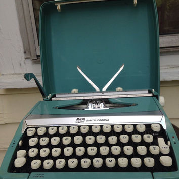 Working smith corona corsair deluxe portable turquoise manual typewriter