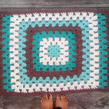 "Rectangular Rug Off White, Aqua, Aqua Jade, Brown Granny Square style Cotton Crochet 23"" x 44"" READY TO SHIP"