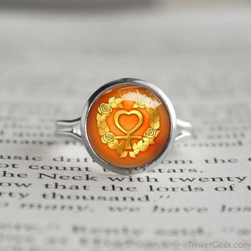 Sailor Moon Sailor Venus Rose Symbol silver ring