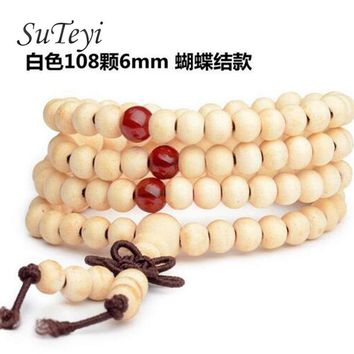 SUTEYI 108 * 6mm natural wood Buddha Buddhist meditation sandalwood beads bracelets men women jewelry Mala prayer beads bracelet