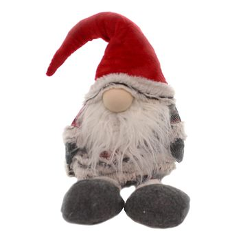 Christmas RED PLAID GNOME DOOR STOP Plaid Santa Hat Weighted Bottom Dst74735 B