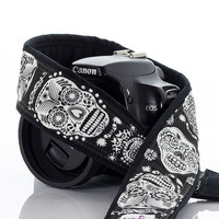 dSLR Camera Strap, Sugar Skulls, Canon, Nikon, Camera Neck Strap, Glow in the Dark, Dia de los Muertos, SLR, Mirrorless,  237