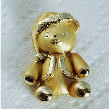 Vintage AJC Brooch, Signed AJC Brooch, Bear Brooch, Two Tone Gold Bear Pin Wearing a Santa Hat and Coat, Teddy Bear Pin, Christmas Jewelry.