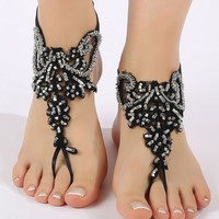 Free ship Black silver beads Barefoot Sandals, french lace, shoes, Gothic, Wedding, Victorian Lace, Sexy, barefoot sandals