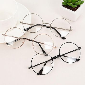 2019 6 Colors New Man Woman Retro Large Round Glasses Transparent Metal Eyeglass Frame Black Silver Gold Spectacles Eyeglasses
