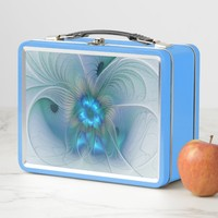 Standing Ovations, Abstract Blue Turquoise Fractal Metal Lunch Box